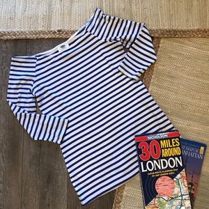 Old Navy Blue White Striped Top Wide Neck
